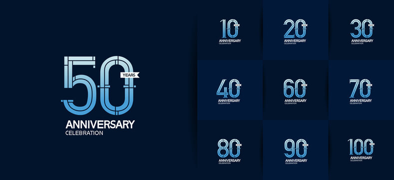 Anniversary logotype set with blue color and ribbon. vector design for celebration purpose, greeting, invitation card