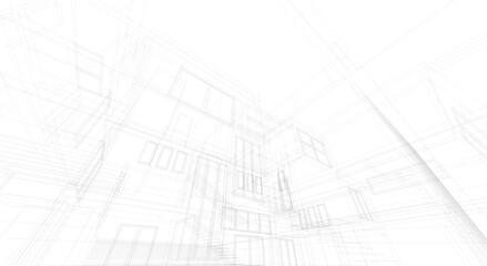 House building architectural concept 3d