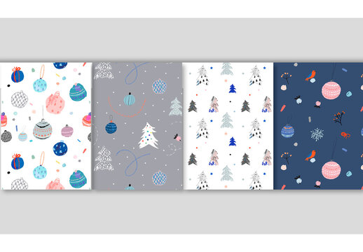 Four Holiday Seamless Patterns