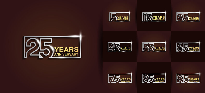 Anniversary logotype set with gold and silver color on brown background. vector design for celebration purpose, greeting, invitation card and special event