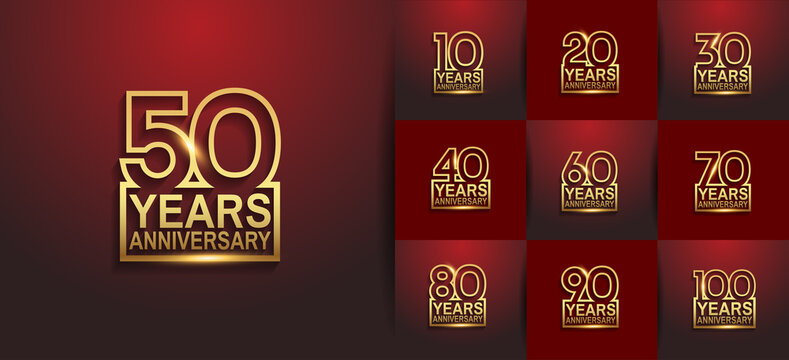 Anniversary logotype set with golden color on red background. vector design for celebration purpose, greeting, invitation card and special event