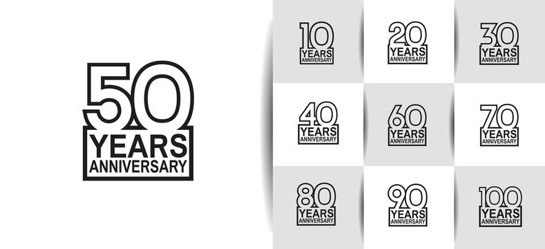 Anniversary logotype set with black color on white background. vector design for celebration purpose, greeting, invitation card and special event