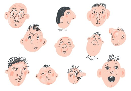Set of Different Faces