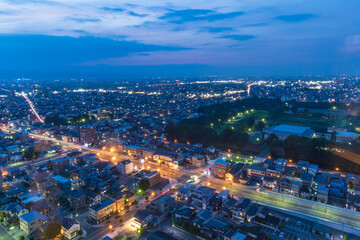 night view of Yamagata City on the 24th floor of Kajo Central Observatory Lobby in Japan