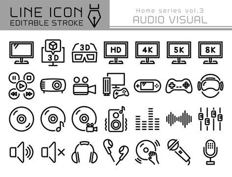 ラインアイコン ホームシリーズvol.3 AV機器 映像 オーディオ