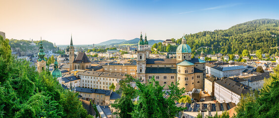 the historic city of salzburg while sunset