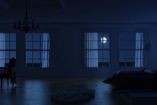 3d rendering of classic bedroom apartment in the moonlight