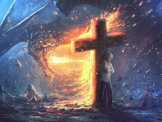 Dragon fire and cross