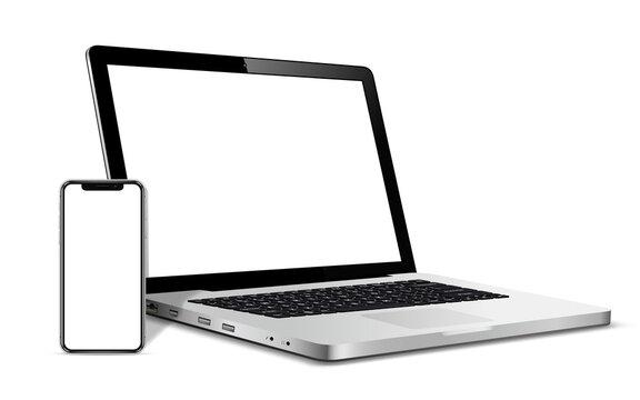 Modern smartphone and laptop blank screen
