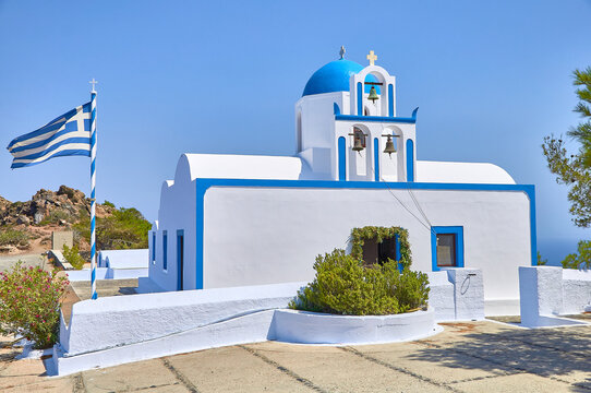 Prophet Elias church santorini with traditional blue dome
