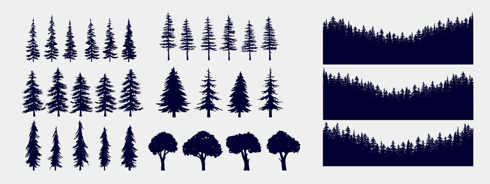 Tree and forest silhouettes - Vector illustration collection of trees and wilderness objects to create your own nature scene.