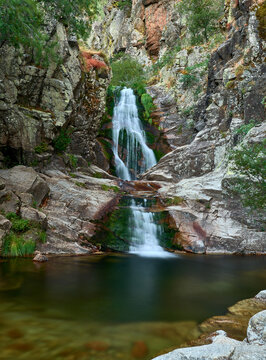 Purgatory waterfall in Madrid mountains