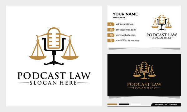attorney and law, justice Podcast mic logo design with business card template
