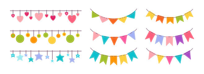 Flag garland bunting heart, star birthday party flat set. Anniversary, celebration party hanging flags cartoon collection. Buntings pennants, festival decoration. Isolated vector illustration
