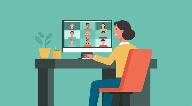 woman using computer connecting to people, learning or meeting online with teleconference, video conference remote working, work from home and work from anywhere concept, vector flat illustration