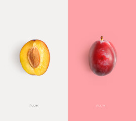 Creative layout made of plum. Flat lay. Macro  concept.