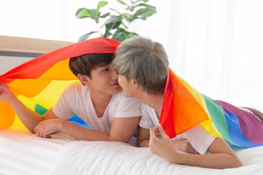 Gay Couples Young Boys Asian Men LGBT Concepts.