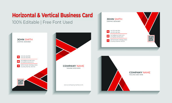 Minimal horizontal and vertical business card template