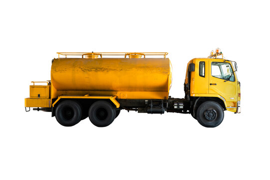 Toilet pumping service car. Pump water from the sewage canal during the construction of city roads Truck with orange water tank. Clipping path.