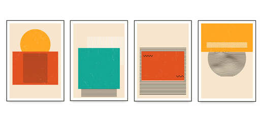 Set of minimalistic geometric art posters with geometric shape elements. Modern contemporary creative trendy abstract templates vector illustration.