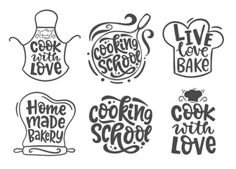 Home made bakery, culinary logotype icons set