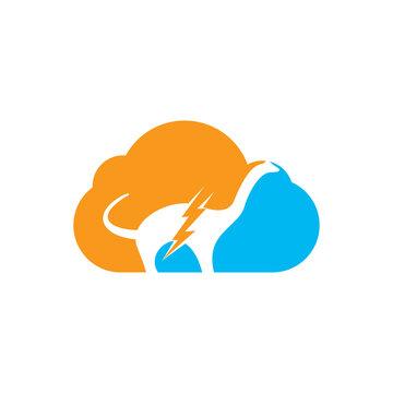 Dino thunder with cloud icon vector logo design. Dinosaur lightning icon logo.
