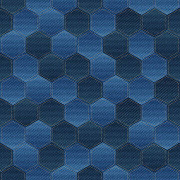 Vector seamless pattern with denim patchwork hexagons. Jeans fabric mosaic texture on blue background