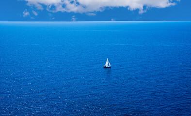 sailing yacht in the Mediterranean Sea , Mallorca, Spain