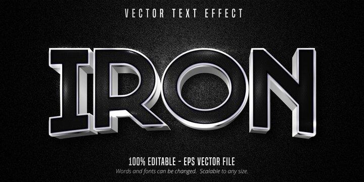 Iron text, metallic silver style editable text effect