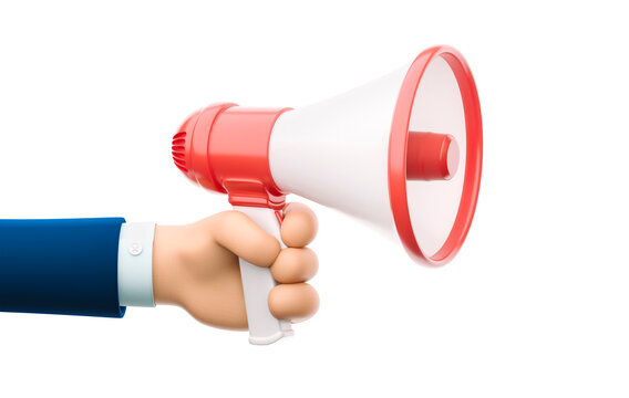 3d illustration. Cartoon businessman character hand holding a speaker. Advertising and promotion symbol.