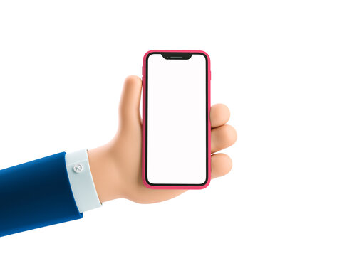 3d illustration. Cartoon businessman character hand holding a phone with white screen.