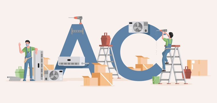 Air conditioner installation vector flat banner template. Young specialists work with equipment to repair or install air conditioners. Maintenance service, cooling system concept.