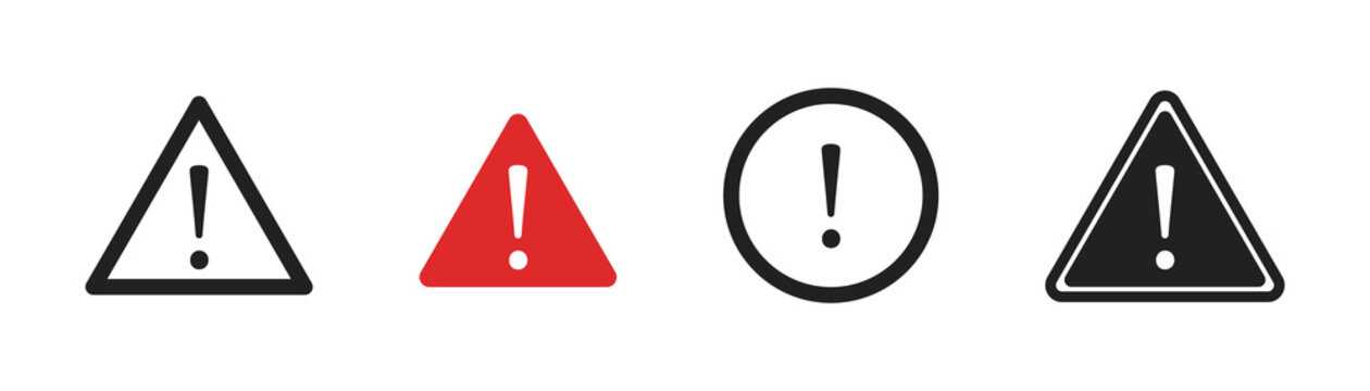 Warning danger and caution sign set. Vector attention icon collection.