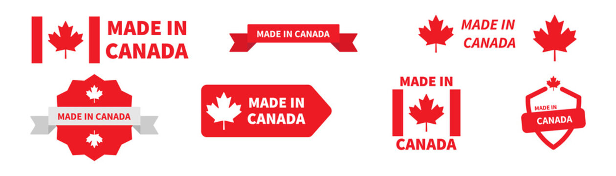 Made in Canada label badge collection. Vector canadian product tag set.