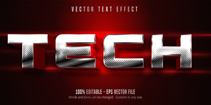 Tech text, metallic silver style editable text effect