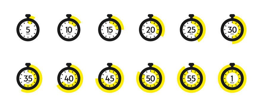 Timer and stopwatch icon set. Countdown timer with different time. Kitchen stopwatch symbol for cooking or sports clock with minutes. Vector illustration.