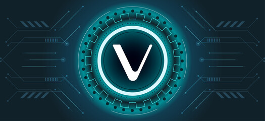 Vechain VET coin symbol with crypto currency themed background design. Modern neon color banner for VET or vechain icon. Blockchain technology, digital innovation or trade exchange concept.