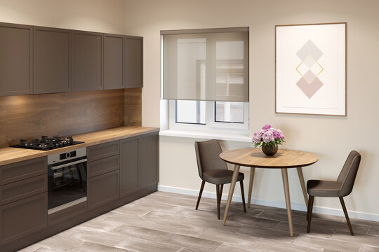 Beige kitchen interior with a window with blinds between a round table with two chairs and kitchen cabinets. There is a vertical poster on the wall above the table. 3d render