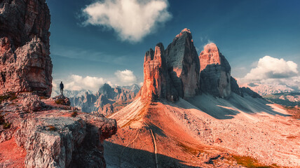 Amazing mountain scenery in sunny day. Scenic image of Tre Cime Di Lavaredo National Park the one most popular location for landscape photographers and best travel and hiking plases of world