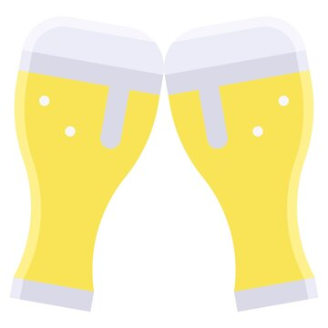 Two pints of beer icon, Summer vacation related vector
