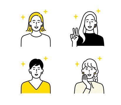 女性アイコンセット