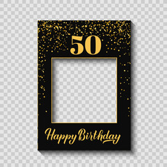 Happy 50th Birthday photo booth frame on a transparent ackground. Birthday party photobooth props. Black and gold confetti party decorations. Vector template