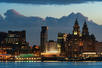 Liverpool Royal Liver Building at night