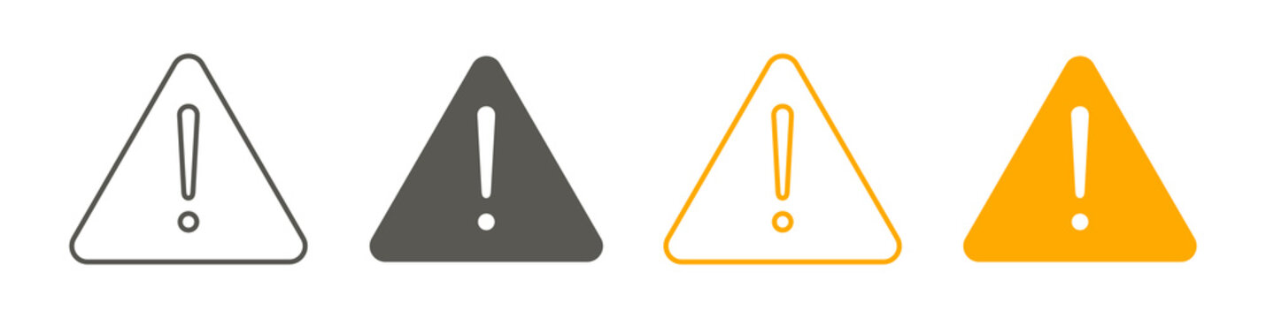 Exclamation of warning attention icon, warning signs set. Vector illustration.
