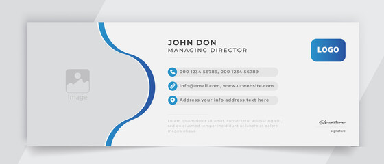 Corporate email signature banner vector template sign