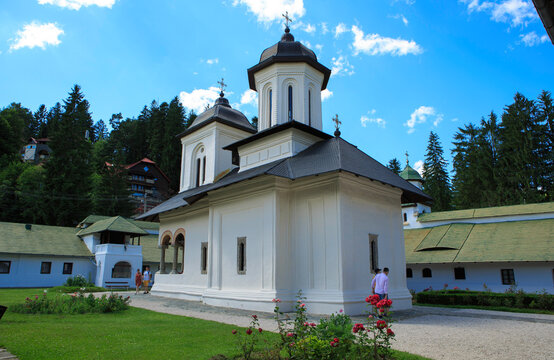 Sinaia, Romania, 7,2019: Monastery founded by Prince Mihail Cantacuzino in 1695