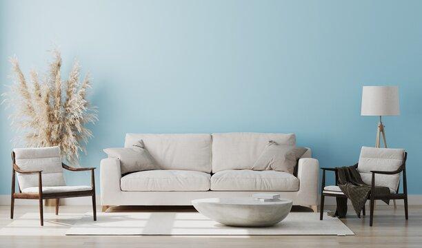 Light blue room interior, living room interior mockup, empty pink wall, 3d rendering