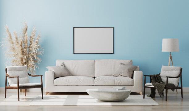 Blank picture frame mock up in light blue room interior , 3d rendering