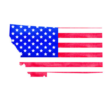 Watercolor hand drawn illustration of Montana state map with USA flag texture