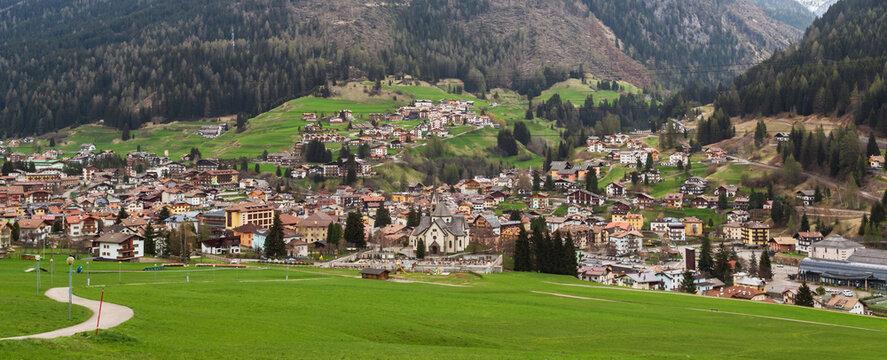 Moena city landscape from surrounding fields, Trentino Alto Adige, Italy